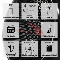 1000W Amp Bluetooth Motorcycle Stereo Waterproof 4 Speakers Audio Radio System