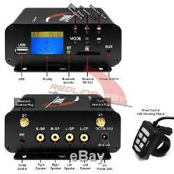 1000W Amp Waterproof Bluetooth Motorcycle Stereo 4-Speaker Audio System ATV UTV