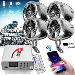 1000W Motorcycle bluetooth Stereo 4 Speakers Audio Music MP3 System AUX FM Radio