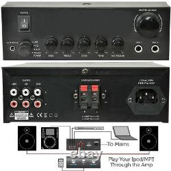 110W Stereo Amplifier System Kit2x Waterproof Bathroom/Kitchen Ceiling Speakers