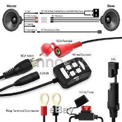 1200W Amp Motorcycle Bluetooth 4 Speaker Audio System Stereo ATV UTV RZR Polaris