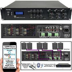 1200W Stereo Bluetooth Amplifier 6x 200W Channel Multi Zone HiFi Matrix Mixer