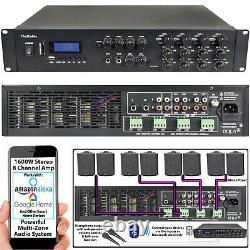 1600W Bluetooth Sound System 8x 200W Black Wall Speaker8 Zone Matrix Amplifier