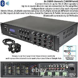 1600W Stereo Bluetooth Amplifier 8x 200W Channel Multi Zone HiFi Matrix Mixer