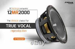 2x PRV Audio 12MR2000 Mid Range Car Stereo 12 Speaker 8 ohm 12MR PRO 4000 Watts