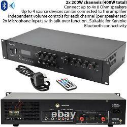 400W Bluetooth Sound System 2x White 200W Wall Speaker Channel HiFi Amplifier