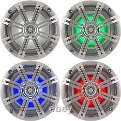 4-Speakers Kicker 6.5 195W Marine Audio Coaxial Color LED Lights Silver Grills