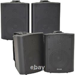 4x 90W Black Wall Mounted Stereo Speakers 5.25 8Ohm Quality Home Audio Music
