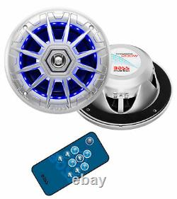 BOSS Audio Boat Marine Light Speakers (2 Pack) & Bluetooth MP3 Stereo Receiver