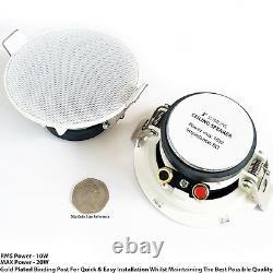 Bluetooth Ceiling Music Kit -Mini Amp & 4 Low Profile Speakers-Stereo HiFi Sound