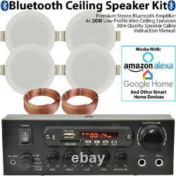 Bluetooth Ceiling Music Kit -PRO Amp & 4 Low Profile Speakers- Stereo HiFi Sound