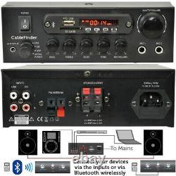 Bluetooth Ceiling Music Kit -PRO Amp & 4x Mini Flush Speakers- Stereo HiFi Sound
