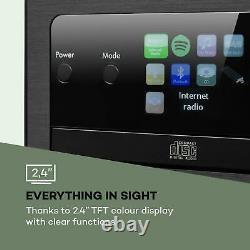 Bluetooth Stereo System Portable CD Player Hi Fi Audio Home LCD Screen USB Black
