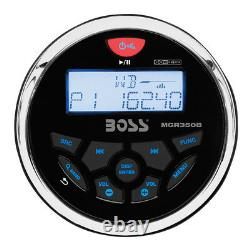Boss Audio MGR350B 3 Gauge Hole Marine Bluetooth Stereo Boat Receiver (2 Pack)