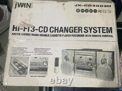 JWin JX-CD3003D Hi-Fi CD/AM/FM Stereo Mini Audio System w Speakers/AUX -SEALED