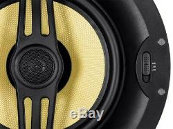 Pair of 2-Way 160W 8 In-Wall In-Ceiling Stereo Audio Speaker made with Kevlar