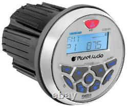 Planet Audio PGR35B 3.5 Gauge Marine MP3/Radio Receiver Bluetooth+4 Speakers