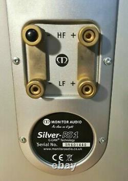 Rare Monitor Audio Silver RS1 Bi-Wire Stereo HiFi Bookshelf Speakers Silver