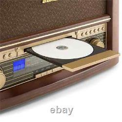 Retro Stereo System DAB Radio CD Player Music MP3 USB Home Audio LCD Brown