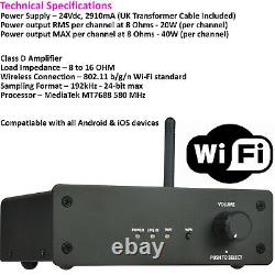 Wi-Fi Wall Speaker Kit 4 Zone Stereo Amp & 8x 70W Black Wall Background Music