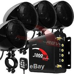 1000w Amp Atv Bluetooth Moto Étanche Stéréo 4-ch Haut-parleurs Audio
