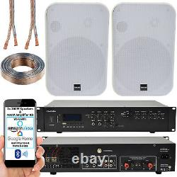400w Bluetooth Sound System 2x White 200w Wall Speaker Channel Hifi Amplificateur