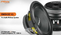 4x Audio 8mb450 V2 Vrp MID Basse Stéréo Voiture 8 Haut-parleur 8 Ohms 8mb Pro 1800 Watts