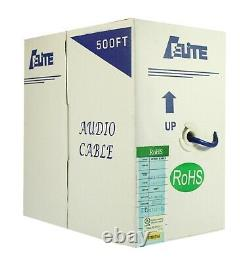 Audio Stereo Speaker Wire Cable 14-gauge 4 Conducteur Pure Copper Bulk 500ft Box