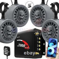 Bluetooth Atv Utv Stereo Haut-parleurs Audio Fm Radio Usb System Rzr Polaris Wildcat