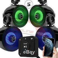 Bluetooth Étanche Atv Utv Rzr Polaris 4 Haut-parleurs Stéréo Système Audio Usb Aux