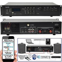 Bluetooth Stéréo Sound System Noir 200w Parleur Mural Chaîne Hifi Mixer Amp