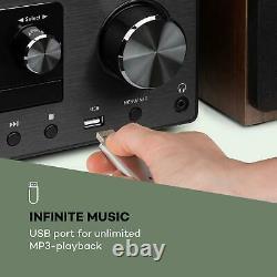 Bluetooth Stereo System Portable CD Player Hi Fi Audio Accueil Écran LCD Usb Noir