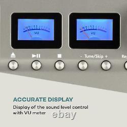 Bluetooth Stereo System Vinyl Reader Lecteur De CD Portable Hi Fi Audio Home Usb LCD