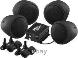 Boss Audio Mcbk470b Moto Atv Bluetooth Amp Haut-parleurs 1000 Watts Stéréo Noir