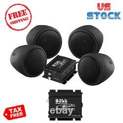 Boss Audio Mcbk470b Moto Vtt Bluetooth Haut-parleurs Amp 1000 Watt Stéréo