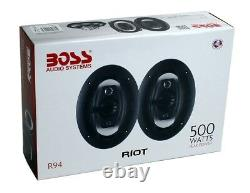 Boss Riot R94 6x9 Inch 500w 4 Way Car Coaxial Audio Speakers Stereo (8 Pack)
