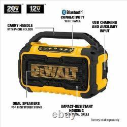 Dewalt Corded Cordless Dual Speakers 100 Ft Bluetooth Stereo Sound 20v Poignée