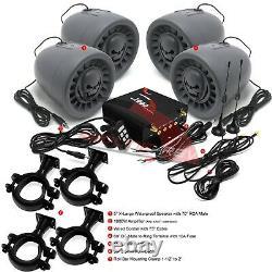 Étanche Bluetooth Utv Stereo 4 Haut-parleurs Audio Radio System Rzr Canam Polaris