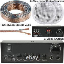 Haut-parleurs 110w Stereo Amplificateur Kit2x Waterproof Bathroom/kitchen Ceiling Speakers