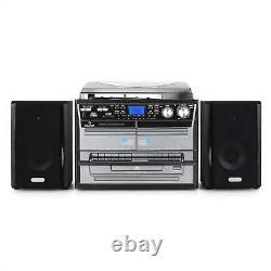 Haut-parleurs Stéréo Hi Fi Système Turntable Lecteur CD Fm Radio Usb Accueil Audio Noir