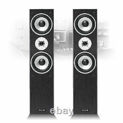 Paire De Black Fenton 3-way Home Audio Tower Haut-parleurs Bass Hi-fi Stereo 350 Watt