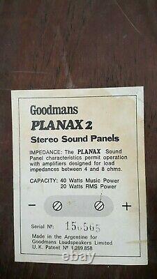 Paire Vintage De Panneaux Sonores Stéréo Goodmans Planax 2