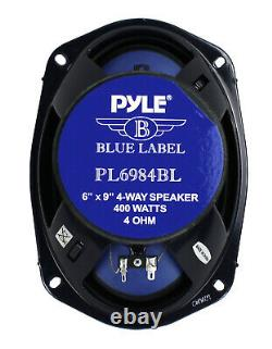Pyle 6 X 9 Pouces 400 Watts 4-way Voiture Coaxial Haut-parleurs Audio Stéréo Bleu (8 Pack)
