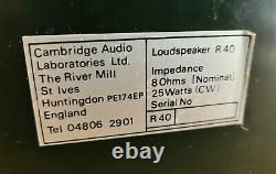 Très Rare Cambridge Audio R40 Stereo Hifi Transmission Line Haut-parleurs B110